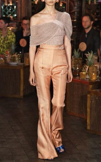 Amal Clooney pink draped top worn at an event in Stockholm, Peter Pilotto Asymmetric One-Shoulder Plissé-Lamé Top, March 2019 | celebrity fashion