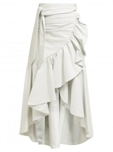 RODARTE Asymmetric ruffled leather skirt in white ~ ruffle trimmed wrap skirts