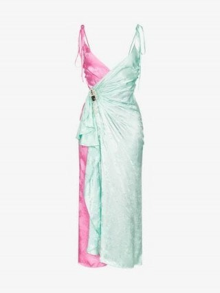 Attico Jacquard Two-Tone Slip Wrap Dress in green and pink - flipped