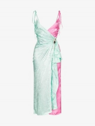 Attico Jacquard Two-Tone Slip Wrap Dress in green and pink