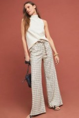 Anthropologie Windowpane Trousers in Black and White | checked pants
