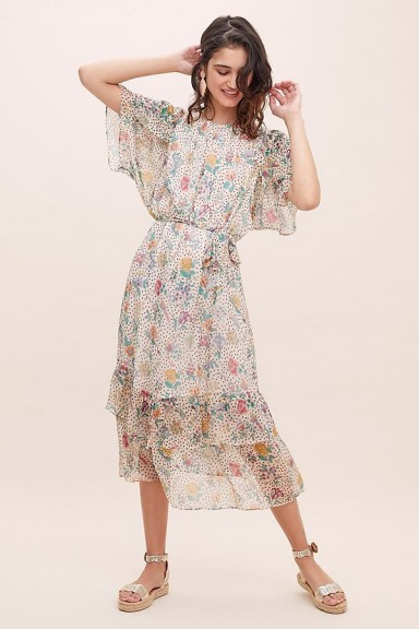 Sessun Fortunata Printed-Silk Tiered Dress Ivory ~ feminine floral dresses