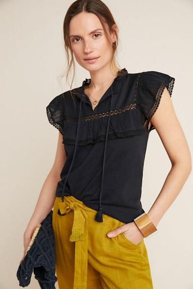 ANTHROPOLOGIE Leah Tank Top Black ~ feminine flutter sleeve tops