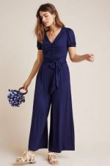 Maeve Joanie Floral-Print Jumpsuit Navy ~ blue front tie jumpsuits