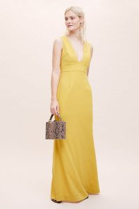 Anthropologie Laguna Maxi Dress Yellow | plunging neckline