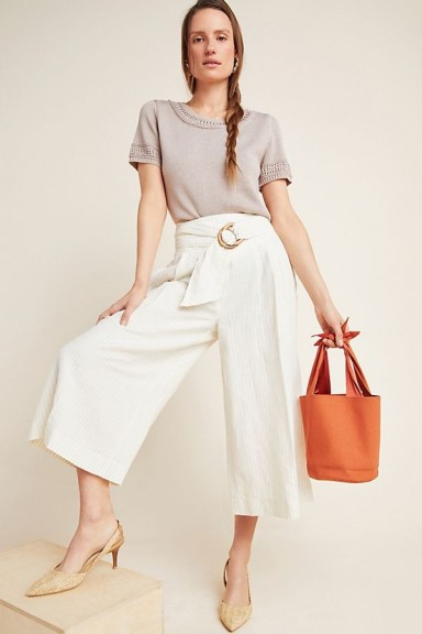 Anthropologie Beach Belted Trousers Neutral Motif | cropped wide-leg