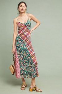 Kachel Elena Silk Slip Dress | mixed print cami frock