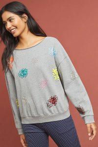 Sequin Fireworks Sweatshirt in Grey