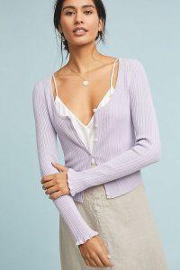Anthropologie Leah Ribbed Cardigan in Lavender | feminine knits