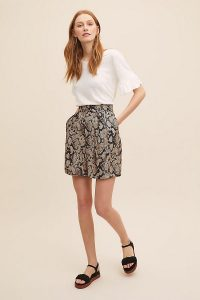 Seen Worn Kept Calliope Snake-Printed Shorts in Black Motif