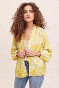 Anthropologie Lauren Floral Kimono in Yellow Motif | lightweight spring jacket