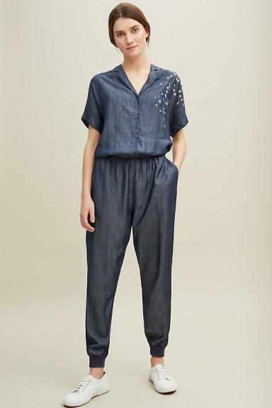 Nooki Deena Star-Embroidered Jumpsuit | blue jumpsuits