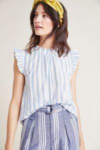 Isabella Sinclair Melinda Ruffled-Striped Top in Blue Motif | flutter sleeve tops