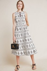 Anthropologie Woodblock Midi Dress in Black and White | sleeveless monochrome fit and flare