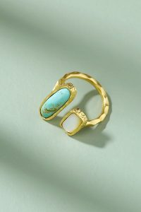 Christina Greene Deco Twin-Stone Ring in Turquoise