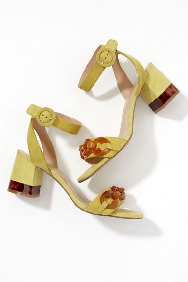 Bruno Premi Tortoiseshell-Detailed Suede Heels in Yellow | luxe style spring sandals