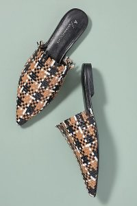 Anthropologie Fringed Woven-Leather Slip-On Flats in Brown Motif