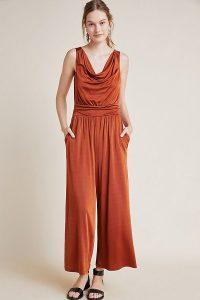 Maeve Enchantment Jumpsuit in copper ~ draped front jumpsuits