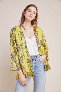 Bl-nk Karie Sequin Kimono in chartreuse ~ short yellow-green kimonos