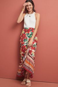 Farm Rio Wrapped Floral Skirt in red motif ~ mixed print maxi skirts