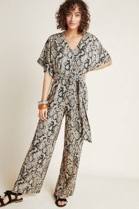 Seen Worn Kept Snake-Printed Jumpsuit in black motif ~ glamorous reptile print clothing