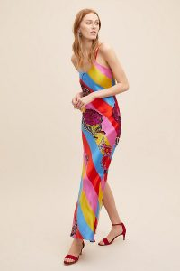 Jessica Russell Flint Laurie Botanical Striped-Silk Maxi Dress ~ bright rainbow stripes