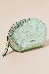 Neuville Metallic-Leather Pouch in mint ~ luxe light-green clutch
