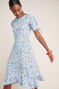 Faithfull The Brand Erin Midi Dress Blue / split tie sleeve fit and flare