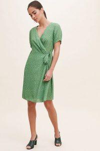Kachel Leila Spot-Print Dress Green / side tie wrap dresses