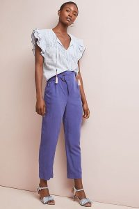 ANTHROPOLOGIE Cupro Wrap Trousers Blue