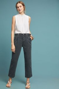 ANTHROPOLOGIE Slouched Trousers Black / slouchy fit / crop leg / front pleat