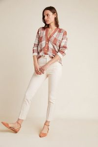 ANTHROPOLOGIE The Essential Slim Trousers Neutral Motif / striped pants
