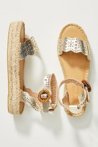 Soludos Cadiz Platform-Jute Sandals Gold / low summer platforms / metallic leather ankle strap shoes