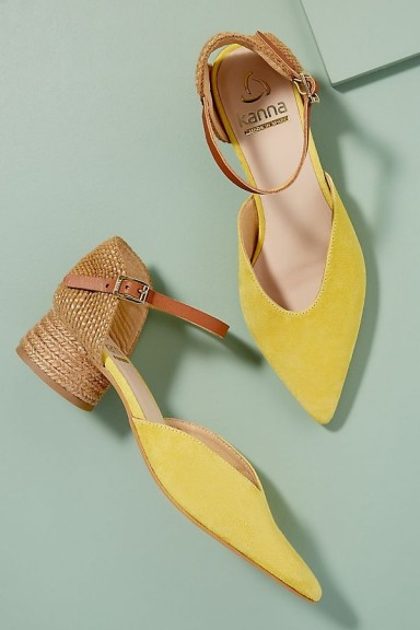 Kanna Jini Raffia-Trimmed Suede Heels Yellow / buckled ankle strap shoes / pointed toe