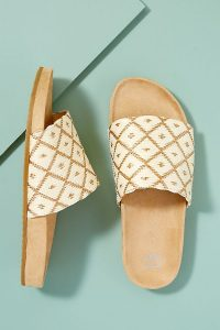 Miista Luciana Raffia-Satin Sandals Cream / stylish slides / summer flats