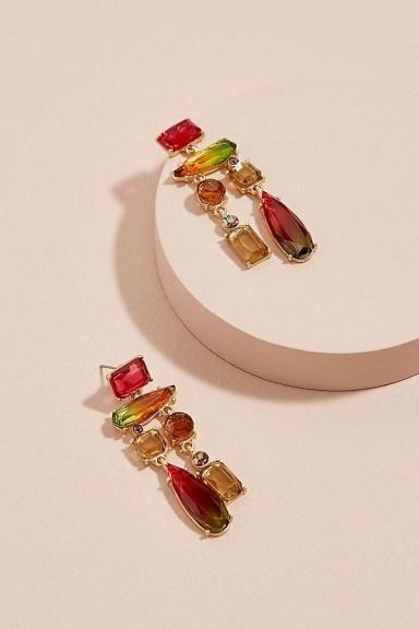 ANTHROPOLOGIE Rini Stone-Chandelier Earrings / multi-coloured statement jewellery - flipped