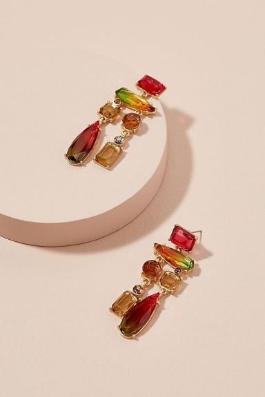 ANTHROPOLOGIE Rini Stone-Chandelier Earrings / multi-coloured statement jewellery