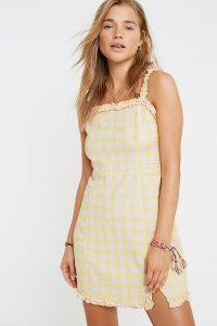 UO Wren Gingham Linen Ruffle Mini Dress / frill trimmed sundress