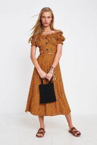 Dot & X Mila Animal Print Midi Skirt in Brown Multi