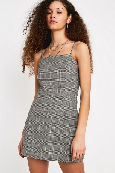 OBEY Vulture Plaid Mini Dress in Black Multi / thin strap check print dresses