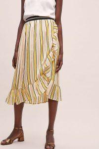 Lolly's Laundry Perla Striped-Ruffled Skirt in Orange Motif | frill trimmed summer skirts