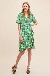 Lolly's Laundry Amby Wrap Dress in Green Motif | retro prints