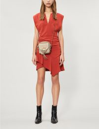 BA&SH Jess ruched sleeveless mini dress in terracotta