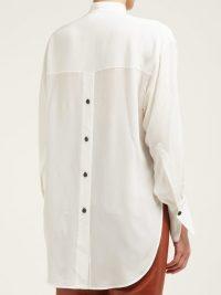 PETAR PETROV Back slit silk crepe shirt in white
