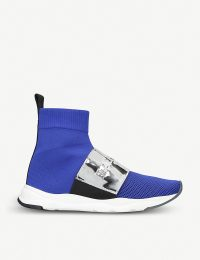 BALMAIN Cameron mesh and metallic-leather sock trainers in blue ~ contemporary sneakers