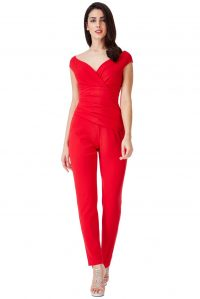 BARDOT PLEATED JUMPSUIT – RED | Goddiva
