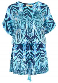 The Dressing Room BEACH GOLD MOJITO MINI DRESS – OCEAN – blue and turquoise print