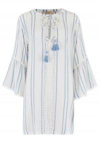 The Dressing Room BEACH GOLD STELLA COVER UP – SKY – long fluted sleeves