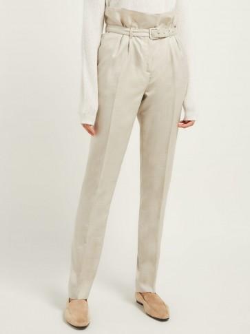 GABRIELA HEARST Beatrice beige paperbag-waist trousers