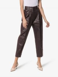 Beaufille Nova Crocodile-Embossed Faux Leather Trousers in purple / cropped pants